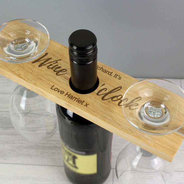 Personalised 'Wine O'clock' Wine Glass & Bottle Butler-Kitchen Accessories-Give Personalised Gifts