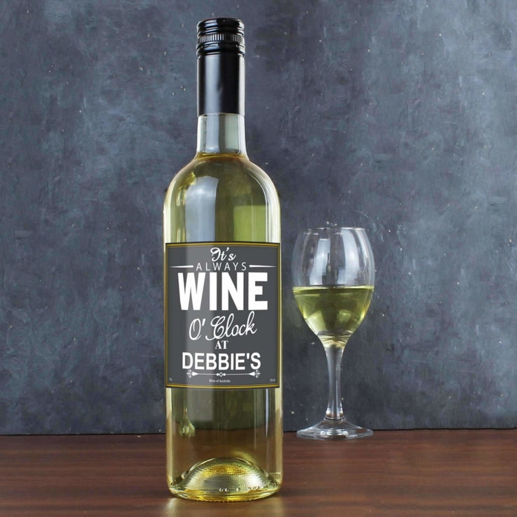 Personalised Wine O'Clock White Wine-Beverage & Accessories-Give Personalised Gifts