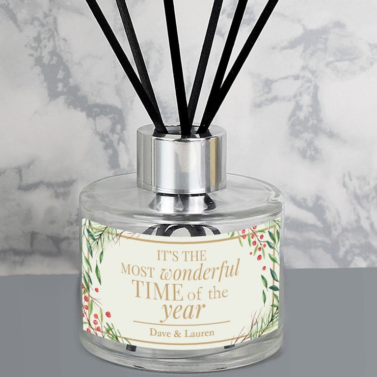 Personalised 'Wonderful Time of The Year' Christmas Reed Diffuser-Diffuser-Give Personalised Gifts