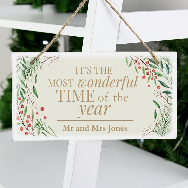 Personalised 'Wonderful Time of The Year' Christmas Wooden Sign-Wooden Sign-Give Personalised Gifts