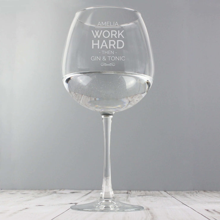 Personalised Work Hard Balloon Glass-Glassware-Give Personalised Gifts