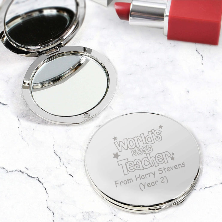 Personalised Worlds Best Teacher Round Compact Mirror-Compact Mirror-Give Personalised Gifts