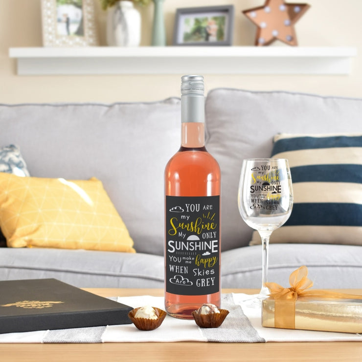 Personalised You Are My Sunshine Rosé Wine Gift Set-Beverage & Accessories-Give Personalised Gifts