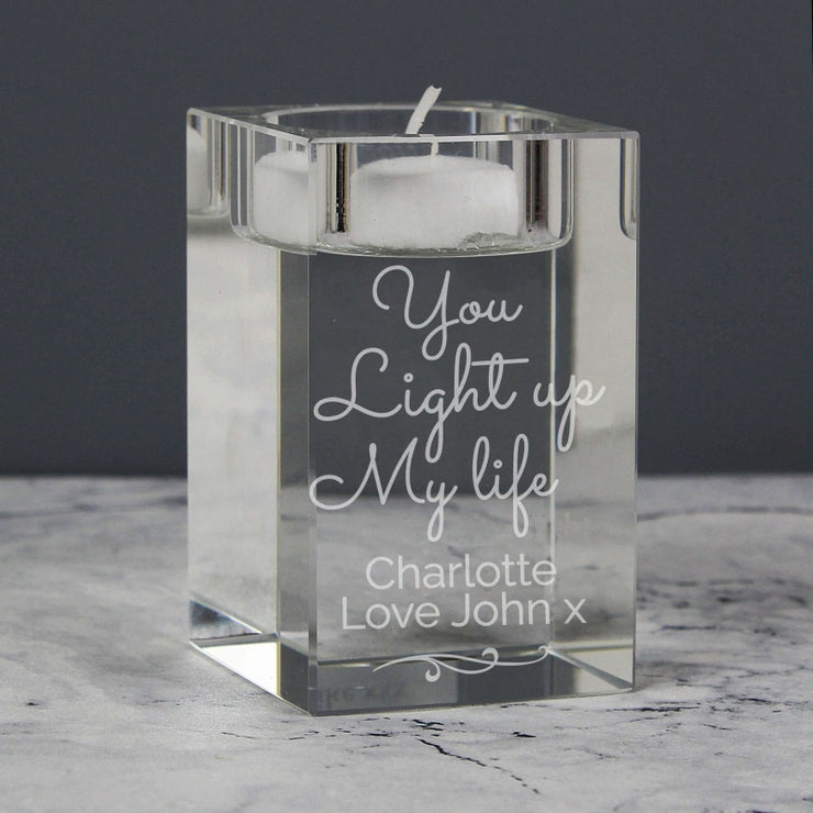 Personalised You Light Up My Life Glass Tea Light Holder-Candles & Holder-Give Personalised Gifts