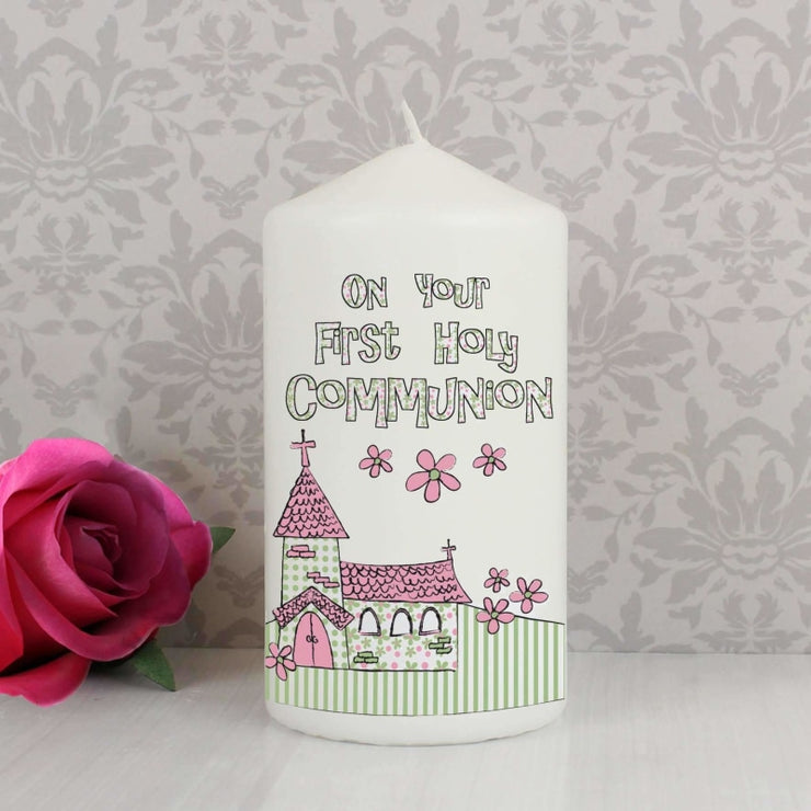 Pink First Holy Communion Church Candle-Candles & Holder-Give Personalised Gifts