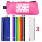 Pink Patchwork Union Jack Pencil Case with Personalised Pencils & Crayons-Stationary & Accessories Set-Give Personalised Gifts