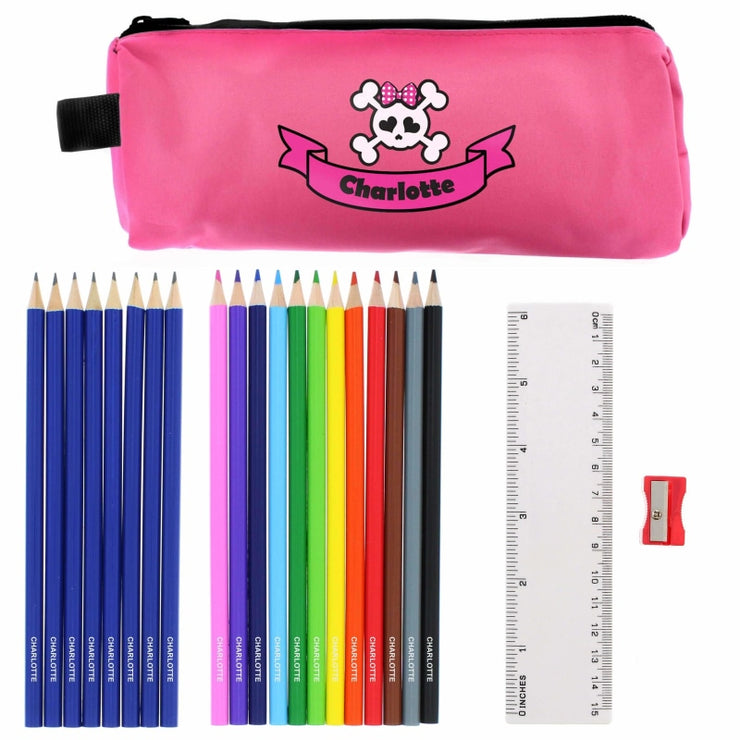Pink Skull Pencil Case with Personalised Pencils & Crayons-Stationary & Accessories Set-Give Personalised Gifts