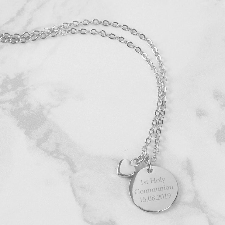 Silver Coloured Disc and Heart Charm Necklace-Jewellery-Give Personalised Gifts