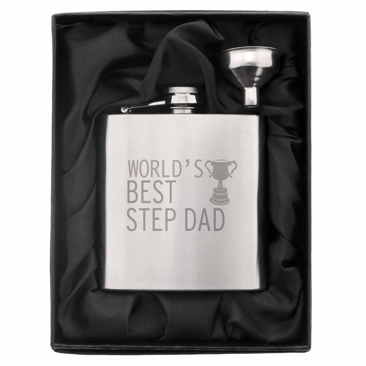Worlds Best Step Dad Hip Flask-Hip Flask-Give Personalised Gifts