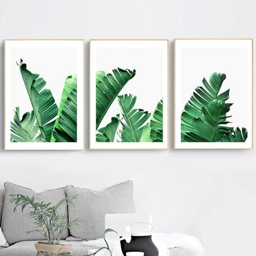 Tropical Green Leaf Painting Wall Art Decor - Unframed - bamagate-com
