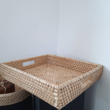 Rattan Rectangular Serving Tray with inner handle