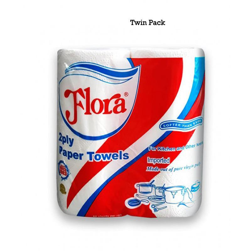 Flora 2-Ply Household Kitchen Roll Paper Towels - Twin Pack - Bamagate
