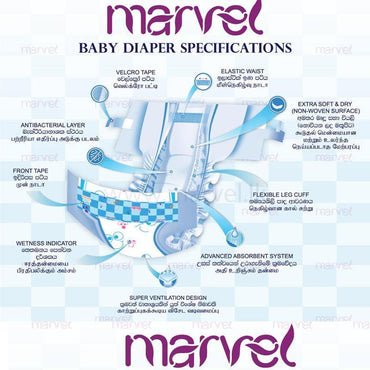 Marvel Disposable Baby Diapers, Size XL, 9 -13 Kg 16 Pcs