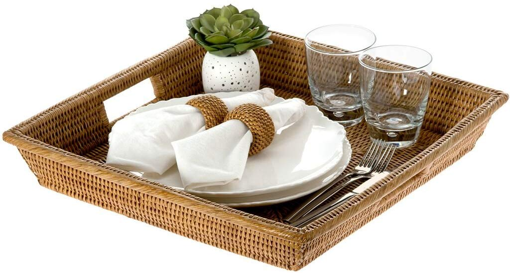 Rattan Rectangular Serving Tray with inner handle - bamagate-com