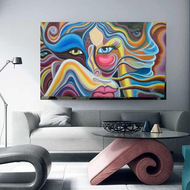 Hand Painted - Abstract Women Face Modern Rolled Canvas Wall Art for Home Decoration - bamagate-com