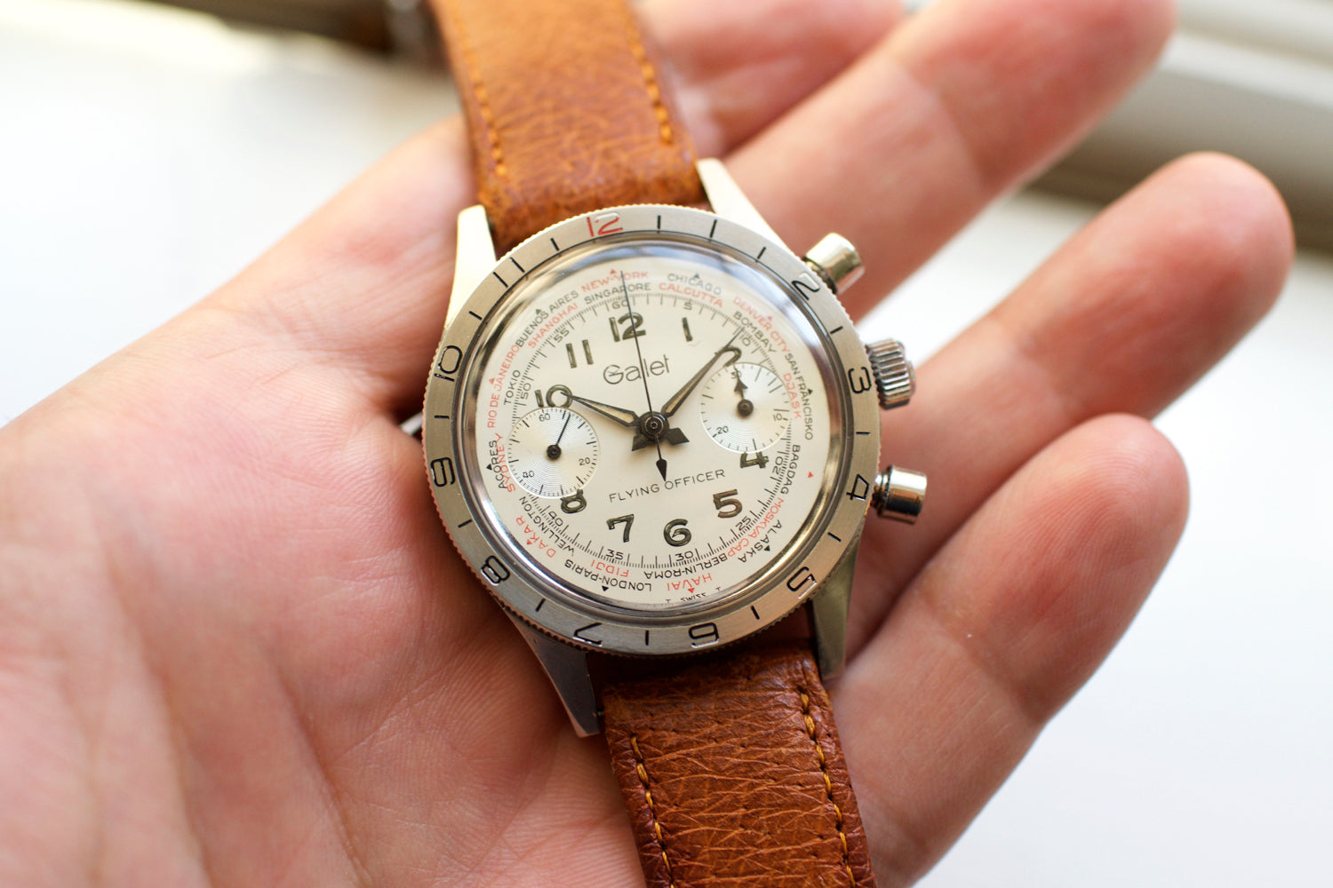 Gallet Flying Officer Vintage Chronograph Tritium