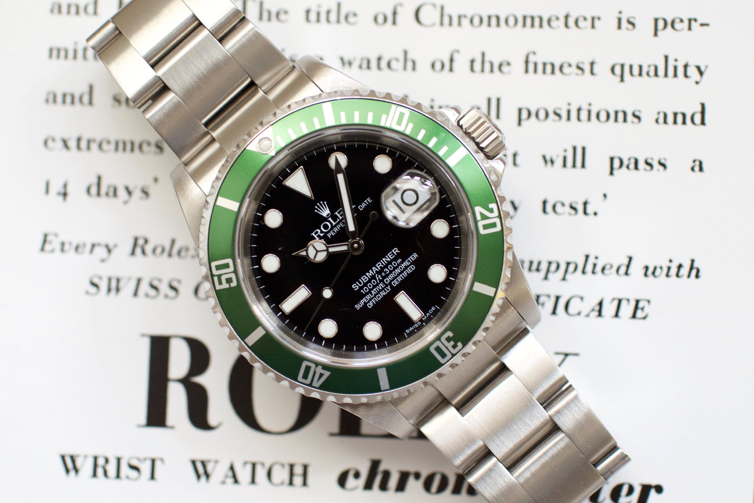 "Rolex Submariner Date 50th Anniversary ""Kermit"" 16610LV"