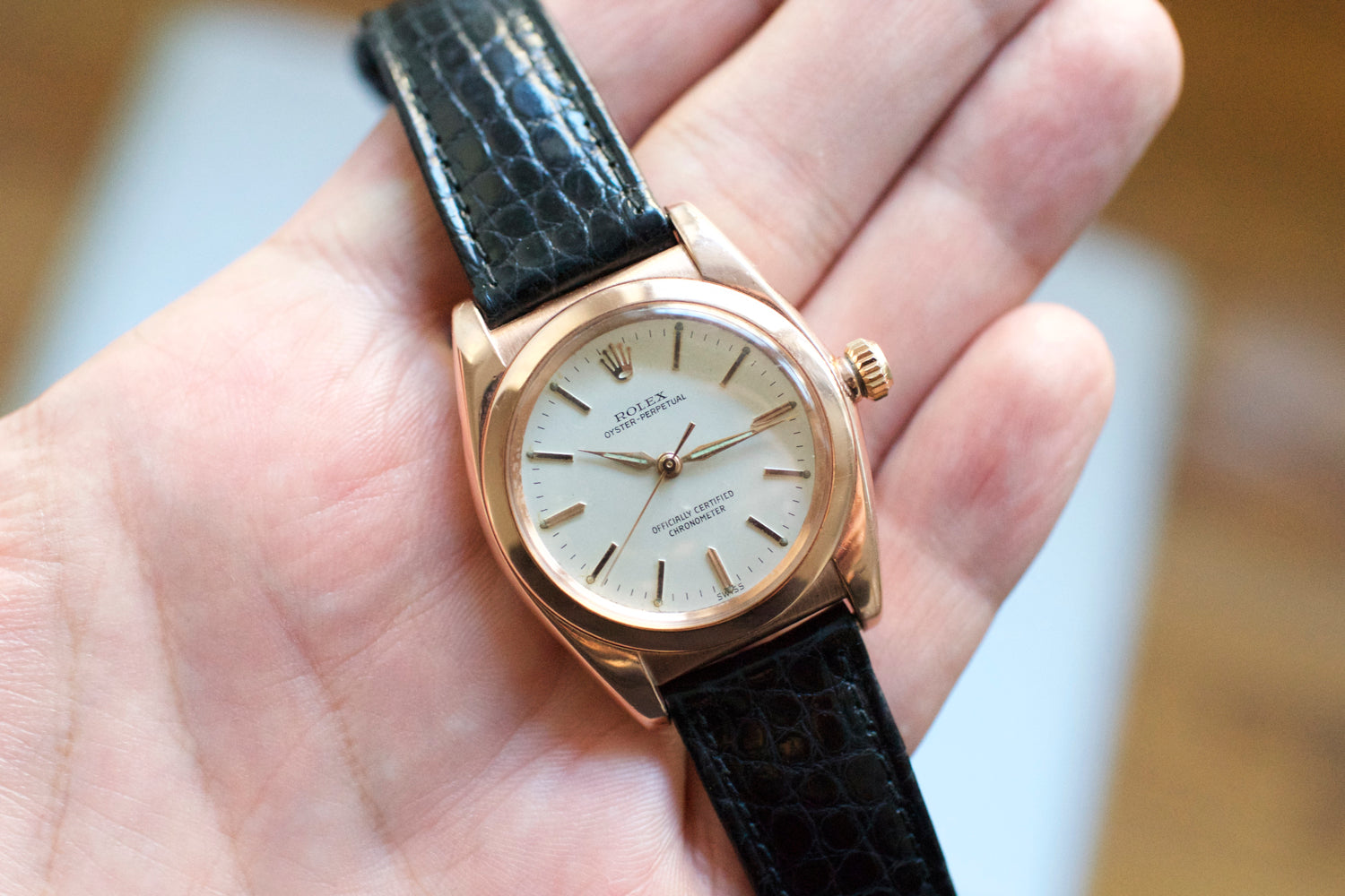 Bubbleback Oyster Perpetual 14k Rose Gold Bubble Back 3693