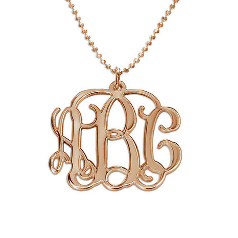 "Monogrammed  Script Necklace - 1"" 18K Rose Gold Plated"