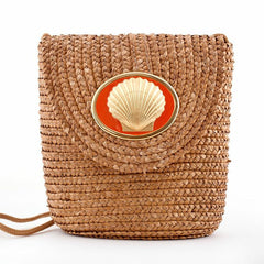 Straw Crossbody Bag - Natural - Scallop