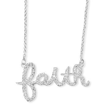 Script Sterling CZ Necklace - Faith