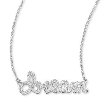Script Sterling CZ Necklace - Dream
