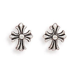 Stud Oxidized Silver Cross Earrings