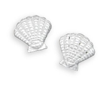 Stud Seashell Silver Earrings