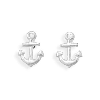 Stud Anchor Silver Earrings