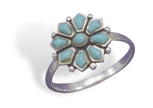 Turquoise Sterling Flower Ring