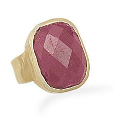 Faceted Rough Cut Ruby Gold Ring