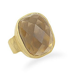 Faceted Smoky Quartz Gold Ring
