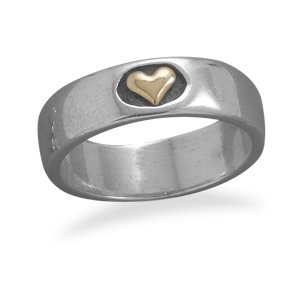 Stack Gold Heart Sterling Silver Ring