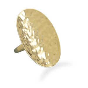 Hammered Oval 14K Gold Plated Ring