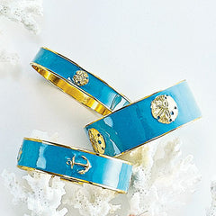 Bangle Charm Bracelet - Aqua Bangles - Sandollar & Anchor