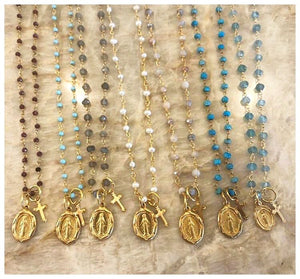 Gemstone Layering chain w Virgin Mary medal and cross