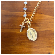 Load image into Gallery viewer, Gemstone Layering chain w Virgin Mary medal and cross