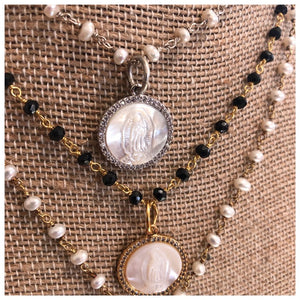 Mother of pearl Virgin Mary Necklace