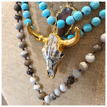 Load image into Gallery viewer, Golden cow skull gemstone necklace