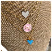 Load image into Gallery viewer, Hand Enameled heart or Love necklace