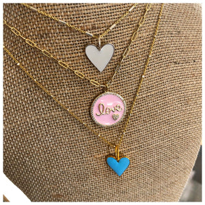 Hand Enameled heart or Love necklace