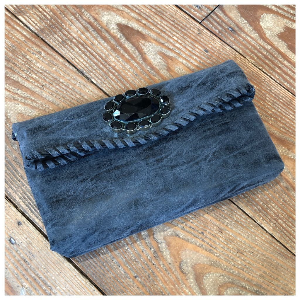 Vegan leather gemstone squash blossom bag