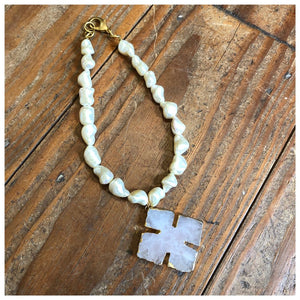 Mother of pearl nugget necklace with French cross pendant