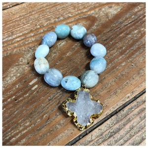 Mother of pearl  or amazonite stretch nugget Bracelets with French cross pendant