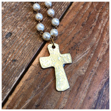 Load image into Gallery viewer, Hammered cross Gemstone rosary necklace
