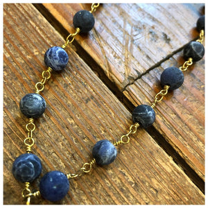 Hammered cross Gemstone rosary necklace