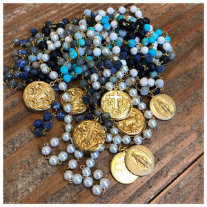 Gemstone rosary necklace with Lord's Prayer locket