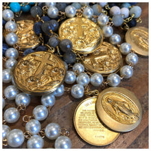 Load image into Gallery viewer, Gemstone rosary necklace with Lord's Prayer locket