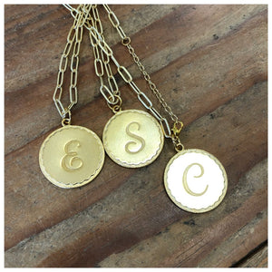 Brushed gold Paperclip chain with large initial