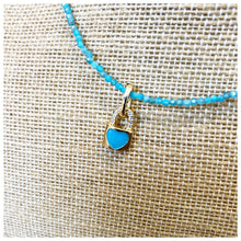 Load image into Gallery viewer, Blue Amazonite gemstone choker with enamel charm